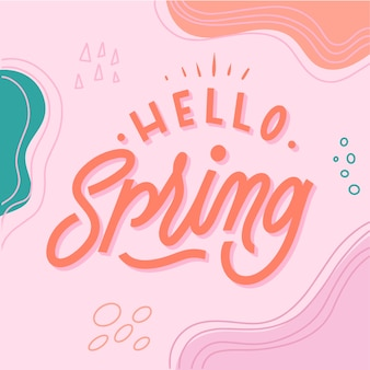 Colorful hello spring lettering
