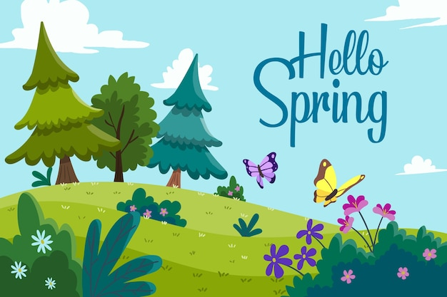 Colorful hello spring theme