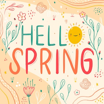 Colorful hello spring