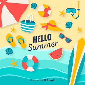 Colorful hello summer background Premium Vector