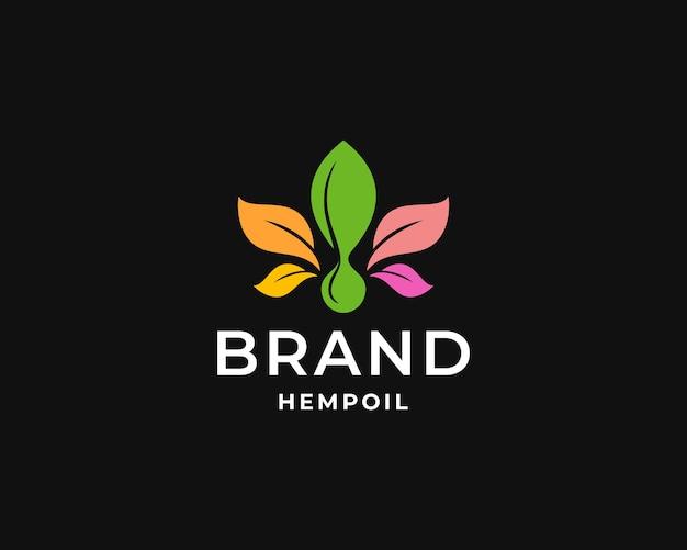 カラフルなヘンプオイルのロゴデザイン