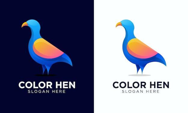 Красочный логотип курица и шаблон иконы