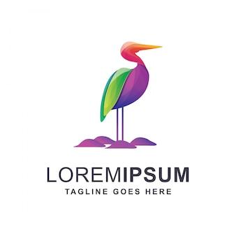 Colorful heron logo
