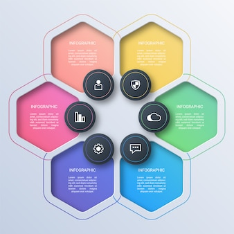 Colorful hexagon business infographic