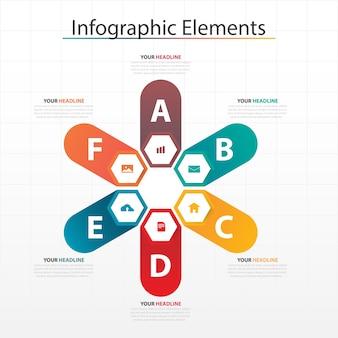 Элементы цветной шестиугольной бизнес-инфографики