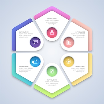 Colorful hexagon infographic  template