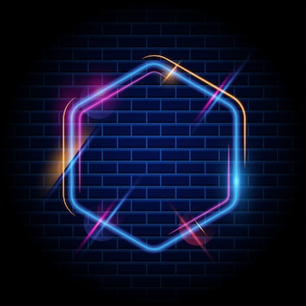 Colorful hexagon light frame background