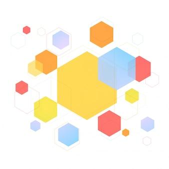 カラフルな六角形や六角形の幾何学要素、現代の抽象的な背景やテクスチャ。