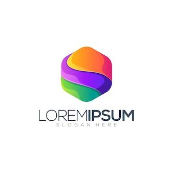 Colorful hexagon premium logo