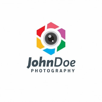 Colorful hexagonal logotype of photography