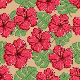 手描きやスケッチスタイルのカラフルなハイビスカスの花のシームレスなパターン