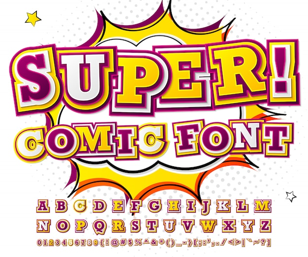 Colorful high detail comic font