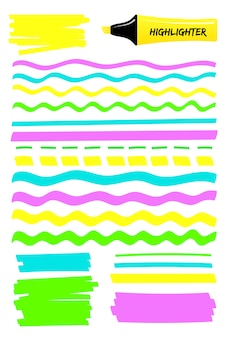 다채로운 하이라이트 마커 선과 사각형