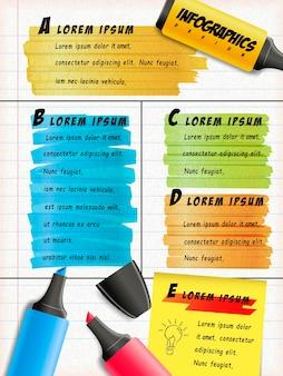 편지지 및 스티커 메모에 다채로운 형광펜 그리기