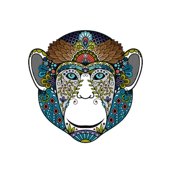 Colorful hipster monkey head