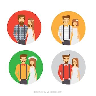 화려한 hipster 웨딩 커플