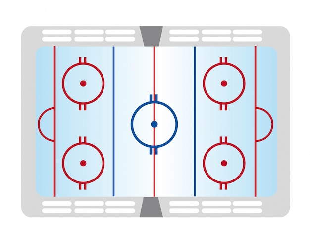 Colorful hockey pitch isolated over white background vector