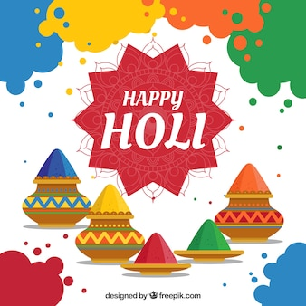 Colorful holi background in flat style