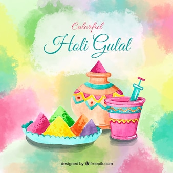 Colorful holi background in watercolor style