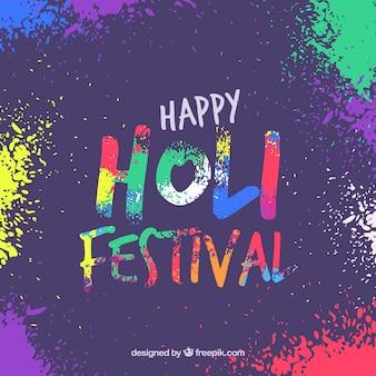Sfondo colorato festival di holi in stile piano
