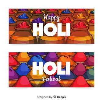 Colorful holi festival banner