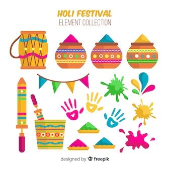Colorful holi festival element set