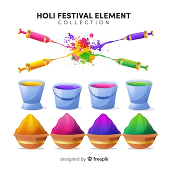 Colorful holi festival element set