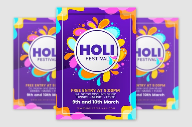 Colorful holi festival flyer template
