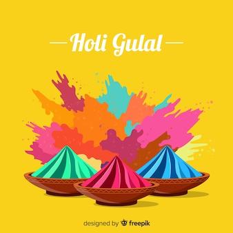 화려한 holi 축제 gulal 배경