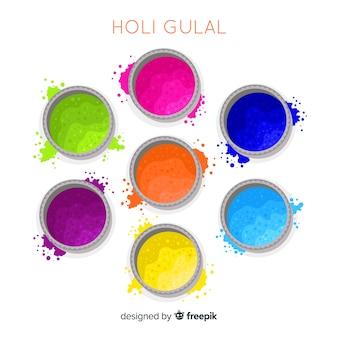 Colorful holi festival gulal set