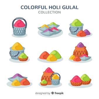 Colorful holi gulal collection