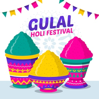 Colorful holi gulal in flat design