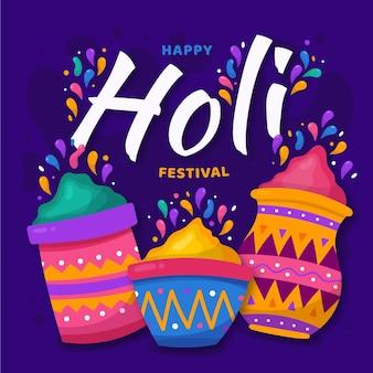 カラフルなホーリー祭の手描き