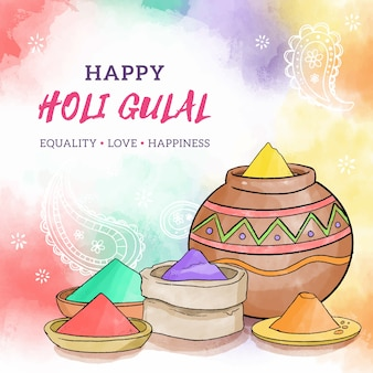 Colorful holi gulal in watercolor