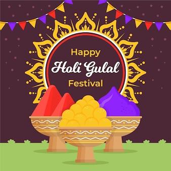 Colorful holi gulal with garland and mandala