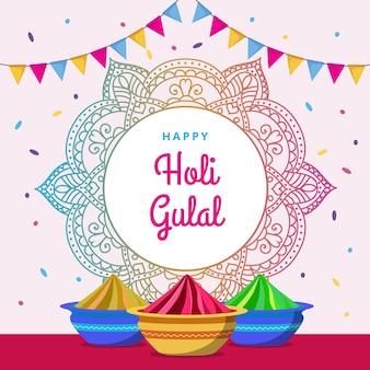 Colorful holi gulal with mandala