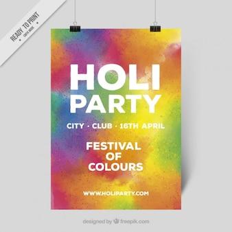 Красочный плакат партии холи