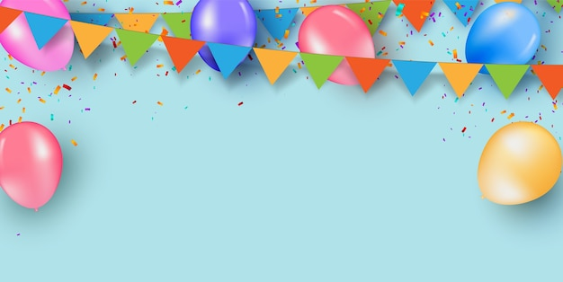 Colorful holiday blue background with balloons and confetti.