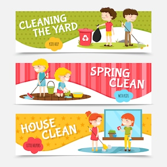 Colorful horizontal banners set with kids cleaning house and yard cartoon isolated vector illustrati