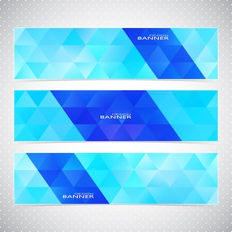 Colorful horizontal set of banners mosaic backgrounds.