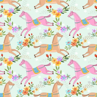 Colorful horse in flowers garden seamless pattern.
