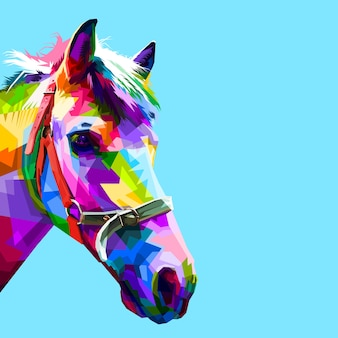 Colorful horse head in geometric pattern pop art style