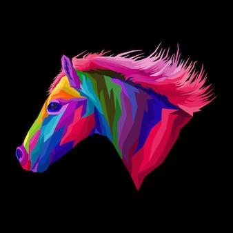 Красочная лошадь поп-арт плакат
