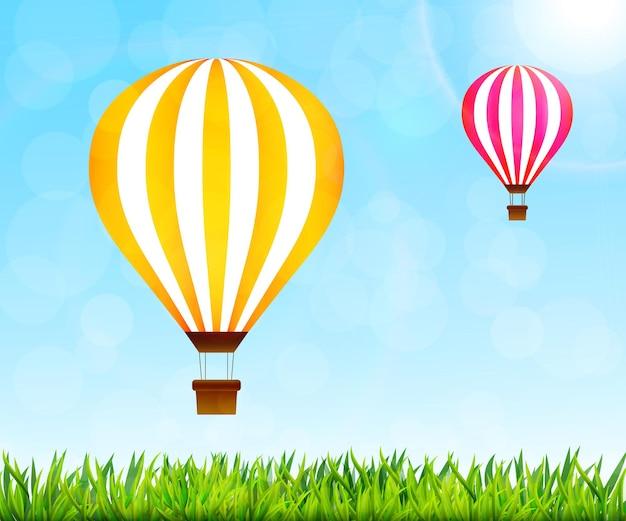 カラフルな熱気球のイラスト