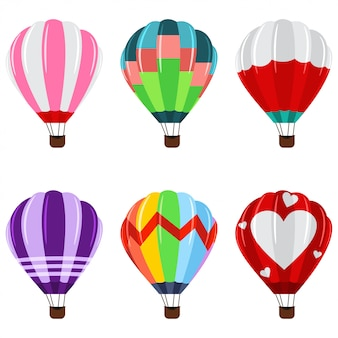 Colorful hot air balloons with basket icons set.