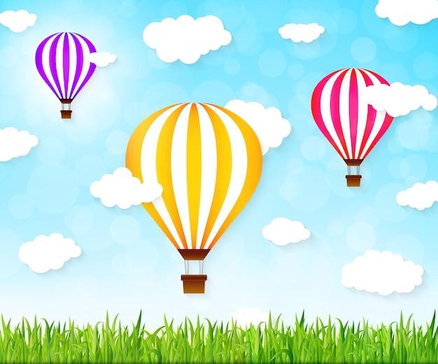 カラフルな熱気球。