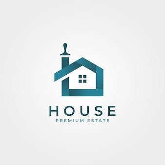 Colorful house brushes logo creative clever  symbol illustration