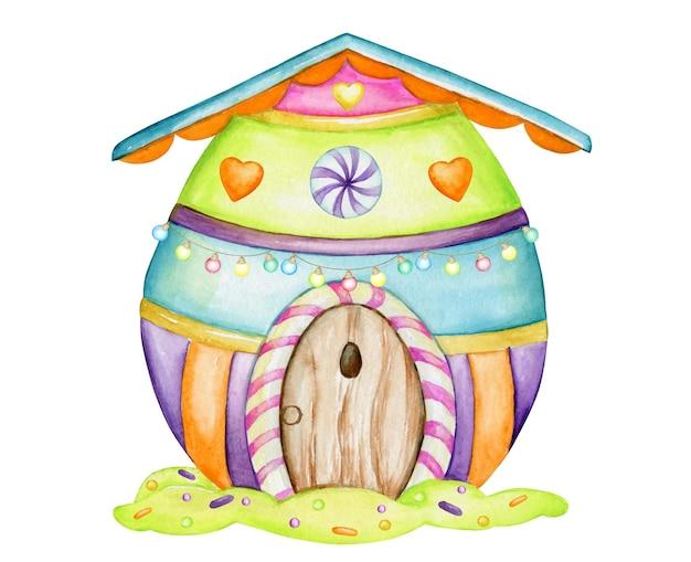 イースターエッグの形をしたカラフルな家。孤立した背景に漫画風の水彩要素。休日のために、イースター