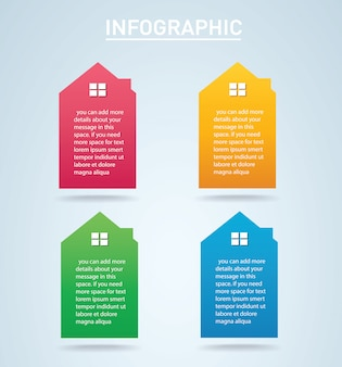 Colorful house infographic 4 options vector