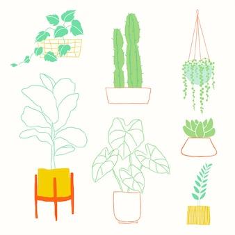 Красочное домашнее растение каракули элемент вектора